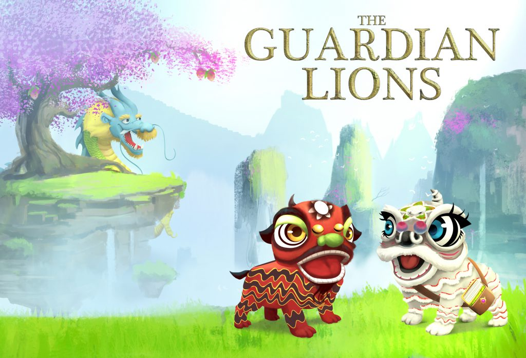The Guardian Lions Home Page Picture with Sky, Earth and Tianlong